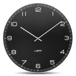 černé kulaté hodiny Leff