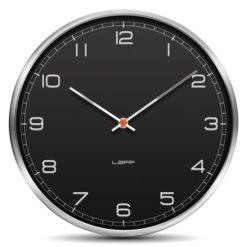 černé moderní hodiny s nerezovým rámečkem