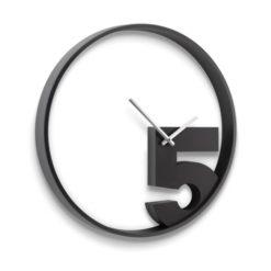 kulaté moderní hodiny černé