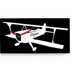 letadlo dvouplošník na nástěnných hodinách kombinace černé a bílé barvy