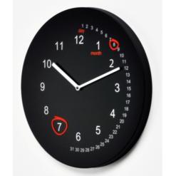 kovové černé nástěnné hodiny s funkcí kalendáře
