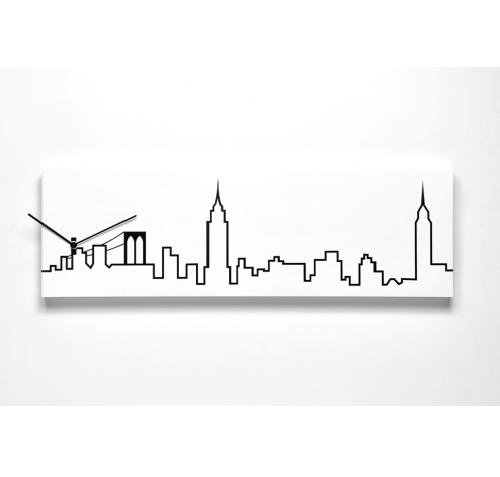 dřevěné obdélníkové hodiny s motivem města NEW YORK