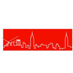 moderní hodiny s motivy New Yorku v červené barvě