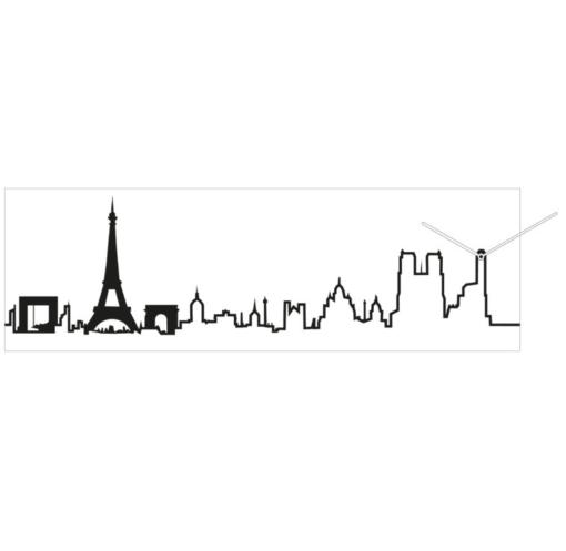 modrní hodiny s motivem Paříže v bílé barvě