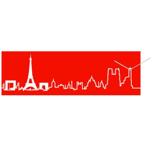 červené designové hodiny s motivem Paříže