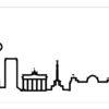 bílé nástěnné hodiny Skyline Berlino