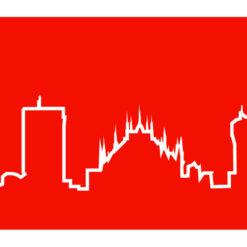 moderní červené hodiny Skyline Milano