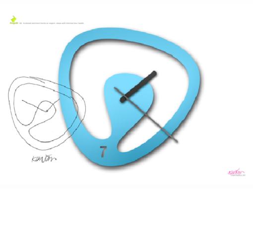 ocelové designové hodiny Seven ve světle modrém laku