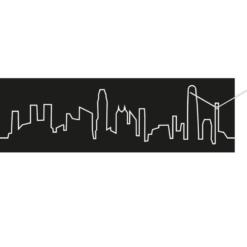 moderní hodiny Skyline Hong Kong černé