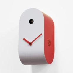 červené designové hodiny s kukačkou Cucupola