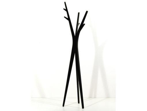 moderní dřevěný stojací věšák v černé barvě