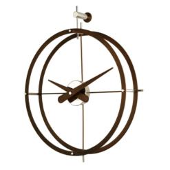 Luxusní hodiny kulaté velké designové z oceli a tmavého dřeva