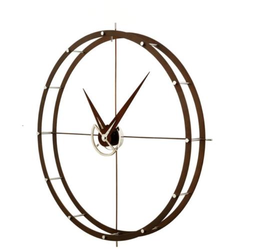luxusní nástěnné hodiny velké z tmavého dřeva a nerez oceli