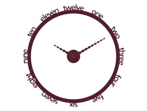 kulaté moderní hodiny na stěnu bordó