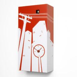 moderní hodiny s kukačkou červené a bílé