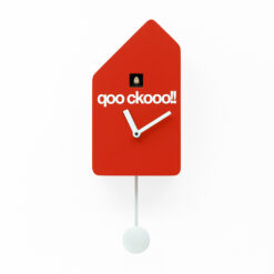 dřevěné moderní hodiny s kukačkou s červeným lakem