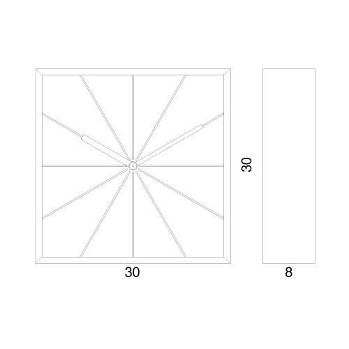 nákres s rozměry hodin Prospettivo